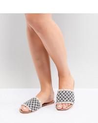 Sandales plates en toile imprimées beiges ASOS DESIGN