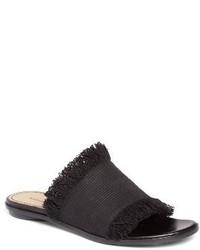 Sandales plates en toile noires