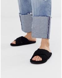 Sandales plates en toile noires ASOS DESIGN