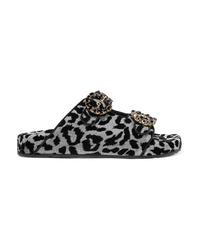Sandales plates en toile ornées noires Dolce & Gabbana