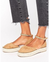 Sandales plates marron clair Missguided