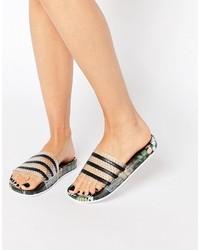 Sandales plates noires adidas
