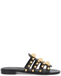 Sandales plates noires Balenciaga