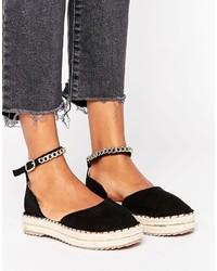 Sandales plates noires Missguided