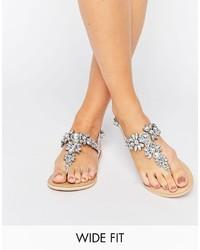 Sandales plates ornées argentées Asos