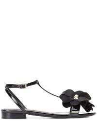 Sandales plates ornées noires Lanvin