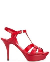 Sandales rouges Saint Laurent