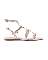 Sandales spartiates en cuir argentées Valentino