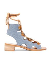 Sandales spartiates en cuir bleu clair
