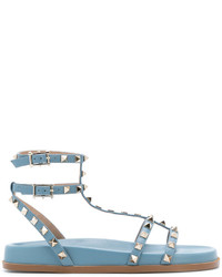 Sandales spartiates en cuir bleu clair Valentino
