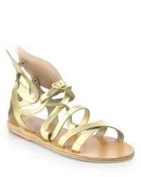 Sandales spartiates en cuir dorées