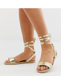 Sandales spartiates en cuir dorées ASOS DESIGN