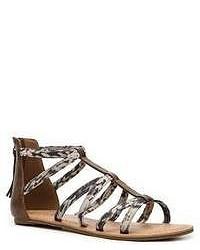 Sandales spartiates en cuir imprimées grises