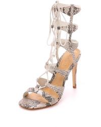 Sandales spartiates en cuir imprimées serpent grises Schutz