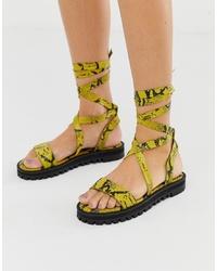 Sandales spartiates en cuir jaunes ASOS DESIGN