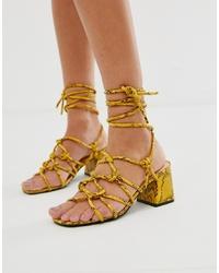 Sandales spartiates en cuir jaunes Public Desire