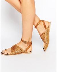 Sandales spartiates en cuir marron clair Free People