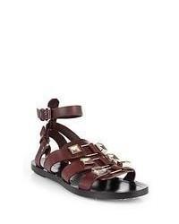 Sandales spartiates en cuir marron foncé