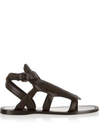 Sandales spartiates en cuir marron foncé Bottega Veneta