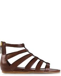 Sandales spartiates en cuir marron foncé Car Shoe