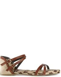 Sandales spartiates en cuir marron foncé Castaner