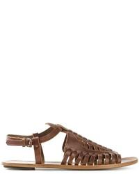 Sandales spartiates en cuir marron foncé Proenza Schouler