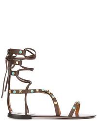 Sandales spartiates en cuir marron foncé Valentino
