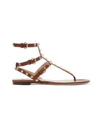 Sandales spartiates en cuir marron Valentino
