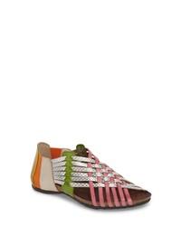 Sandales spartiates en cuir multicolores