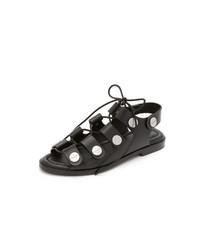 Sandales spartiates en cuir noires Alexander Wang