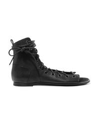 Sandales spartiates en cuir noires Ann Demeulemeester
