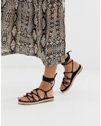 Sandales spartiates en cuir noires ASOS DESIGN