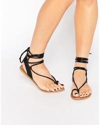 Sandales spartiates en cuir noires Asos