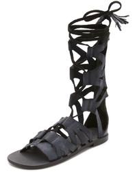Sandales spartiates en cuir noires Free People