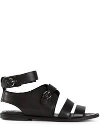 Sandales spartiates en cuir noires Jil Sander