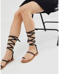 Sandales spartiates en cuir noires RAID