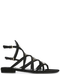Sandales spartiates en cuir noires Salvatore Ferragamo