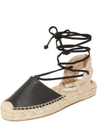Sandales spartiates en cuir noires Soludos