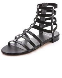 Sandales spartiates en cuir noires Stuart Weitzman