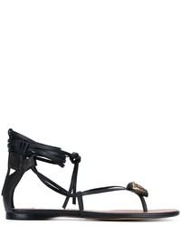 Sandales spartiates en cuir noires Valentino Garavani