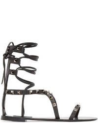 Sandales spartiates en cuir noires Valentino