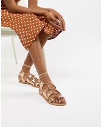 Sandales spartiates en cuir ornées dorées South Beach