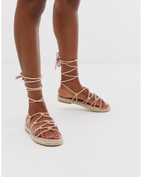 Sandales spartiates en cuir roses ASOS DESIGN