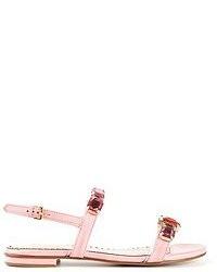 Sandales spartiates en cuir roses Moschino