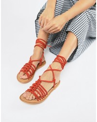 Sandales spartiates en cuir rouges ASOS DESIGN