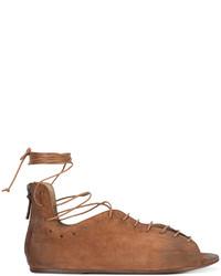 Sandales spartiates en cuir tabac Marsèll