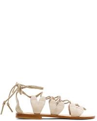 Sandales spartiates en daim beiges
