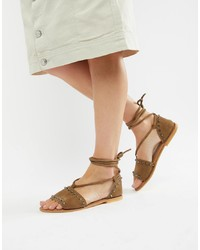 Sandales spartiates en daim marron clair ASOS DESIGN