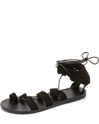 Sandales spartiates en daim noires Ancient Greek Sandals