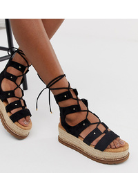 Sandales spartiates en daim noires ASOS DESIGN